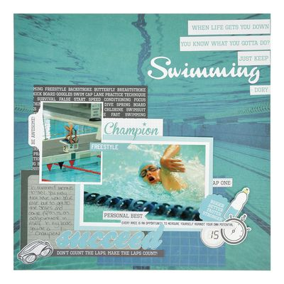 'Swimming' Layout. These new Game On papers have certainly hit the nail on the head!