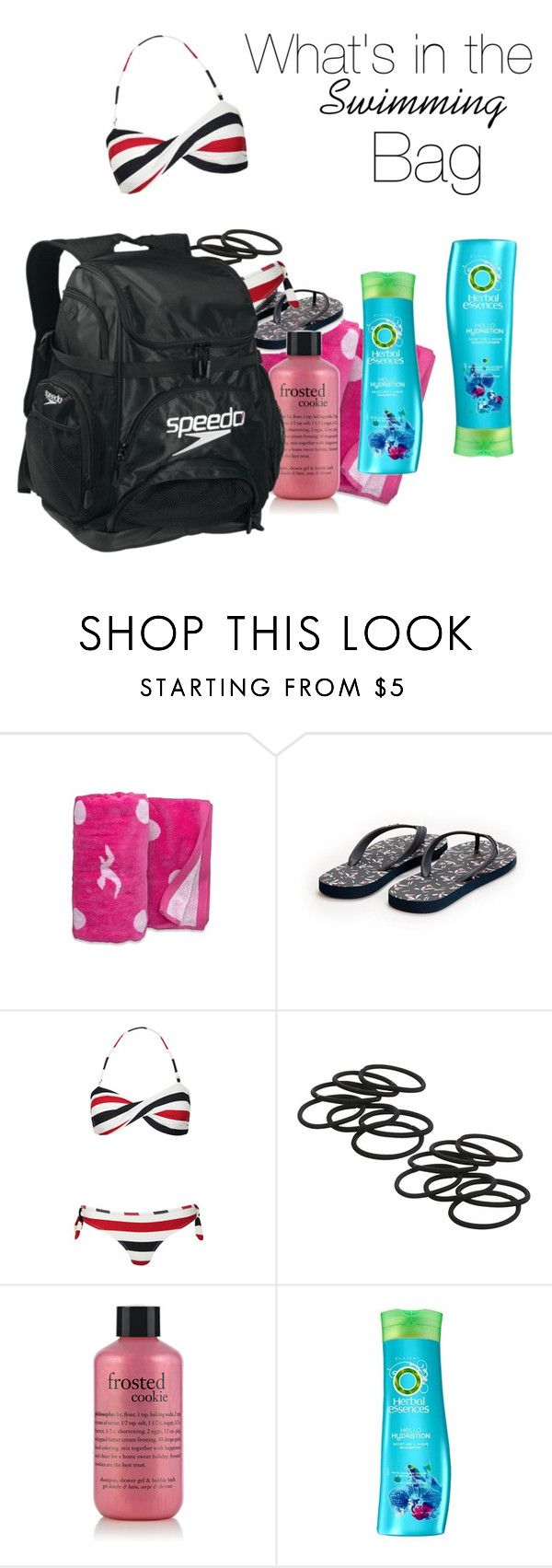 """""""What's in the Bag?"""" by deeda-ferreira ❤ liked on Polyvore featuring Hollister Co., Jack Wills, philosophy, Speedo, Herbal Essences, Whatsinthebag and Swimmingbag"""