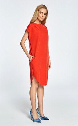 69bc101cbdf7 Red midi shift dress with asymmetric hem by MOE