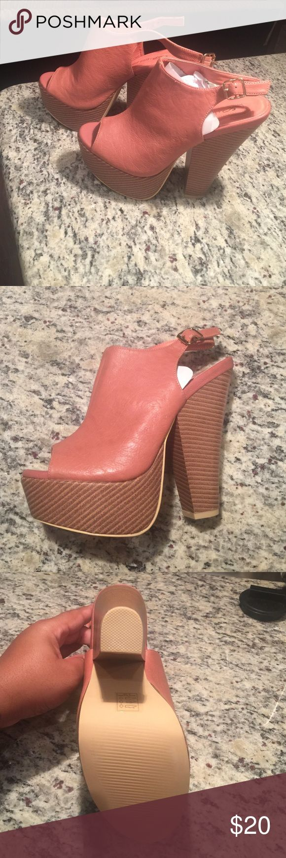 Coral peep toe mule Coral peep toe mule size 8 never been worn Leila Stone Shoes Mules & Clogs