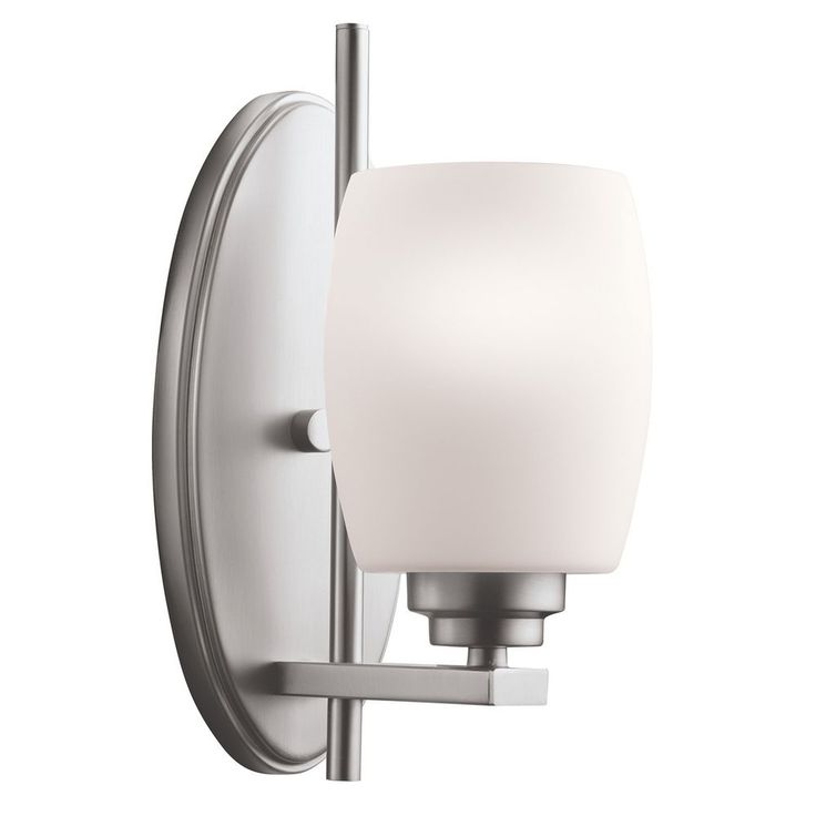 Kichler Modern Sconce Light with White Glass in Brushed Nickel Finish at Destination Lighting