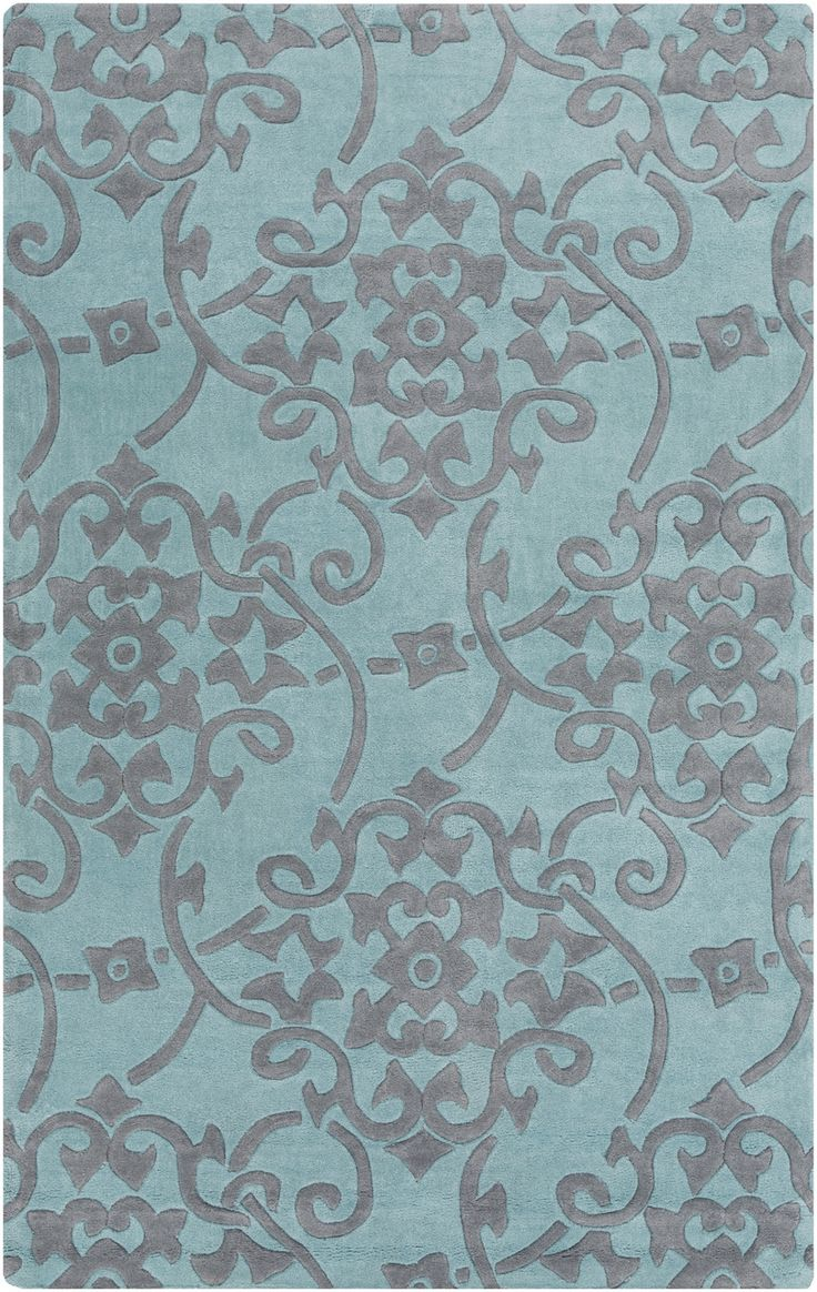 Teal Blue Sculpted Plush Area Rug