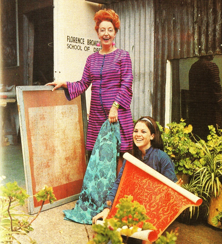 Florence broadhurst with her silk screen and chief assistant Cathy Animus in 1968. All Florence's  stunning designs were hand drawn and hand screen printed.