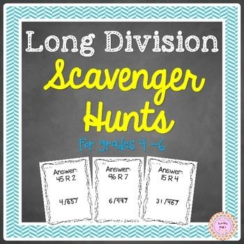 Long Division Games: Practice long division with this fun scavenger hunt game. Your students will have a blast and will as you for more. Includes 1 digit and 2 digit divisors. 2 games includedDirections:-Tape long division sheets (12 of them) to the walls around your room or hang from the ceiling (spread out).