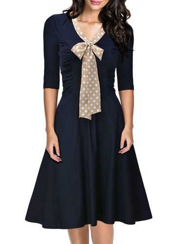 Miusol Women's 3/4 Sleeve Casual Slim Fit and Flare A-line Vintage Dress