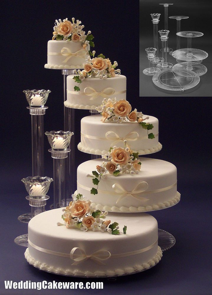 5 Tier Cascading Wedding Cake Stand Stands 3 Candle Cakes