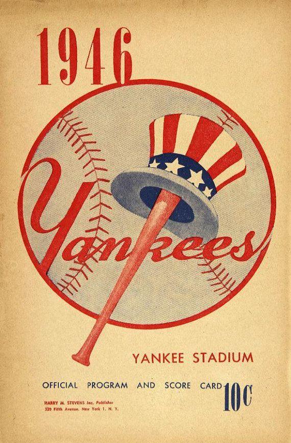 New York Yankees 1946 Print Vintage Baseball Poster Retro Etsy New York Yankees Vintage Baseball Baseball Posters