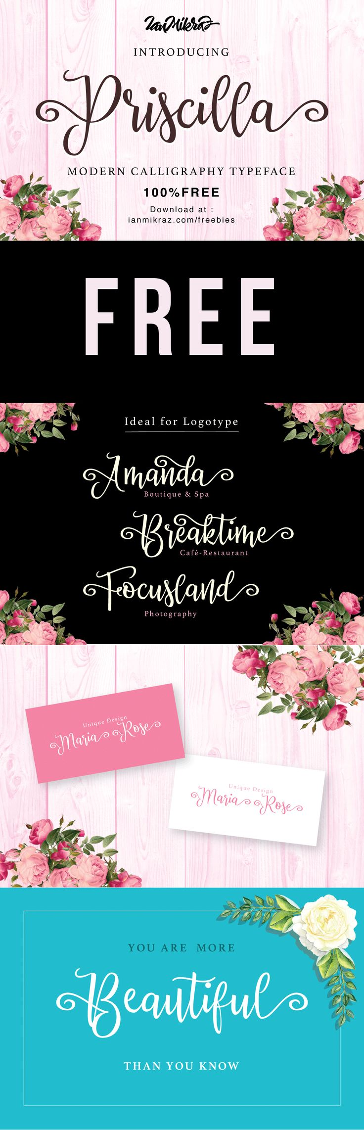 100% Free Priscilla Font! - Free Pretty Things For You