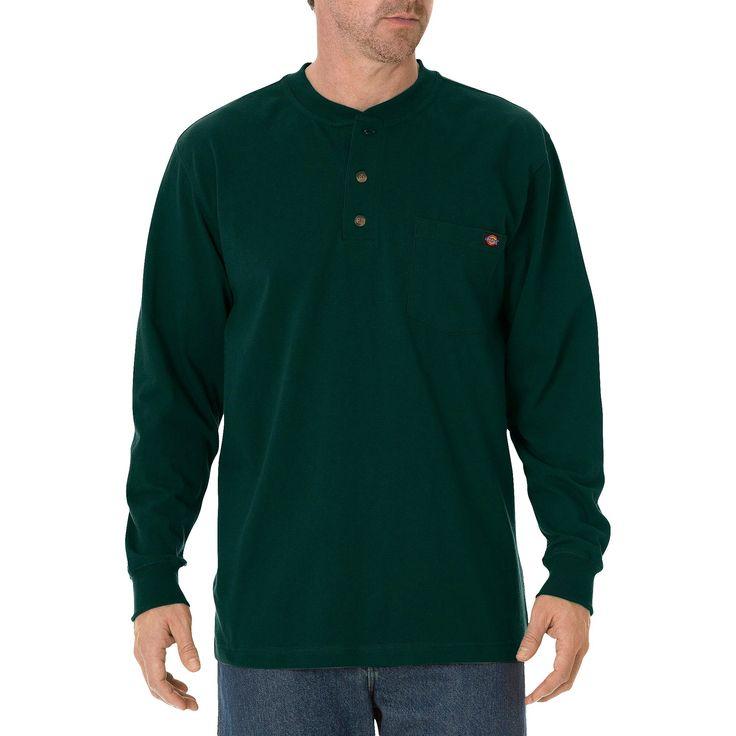 Dickies Men's Big & Tall Cotton Heavyweight Long Sleeve Pocket Henley Shirt- Hunter Green XL Tall, Size: Xlt