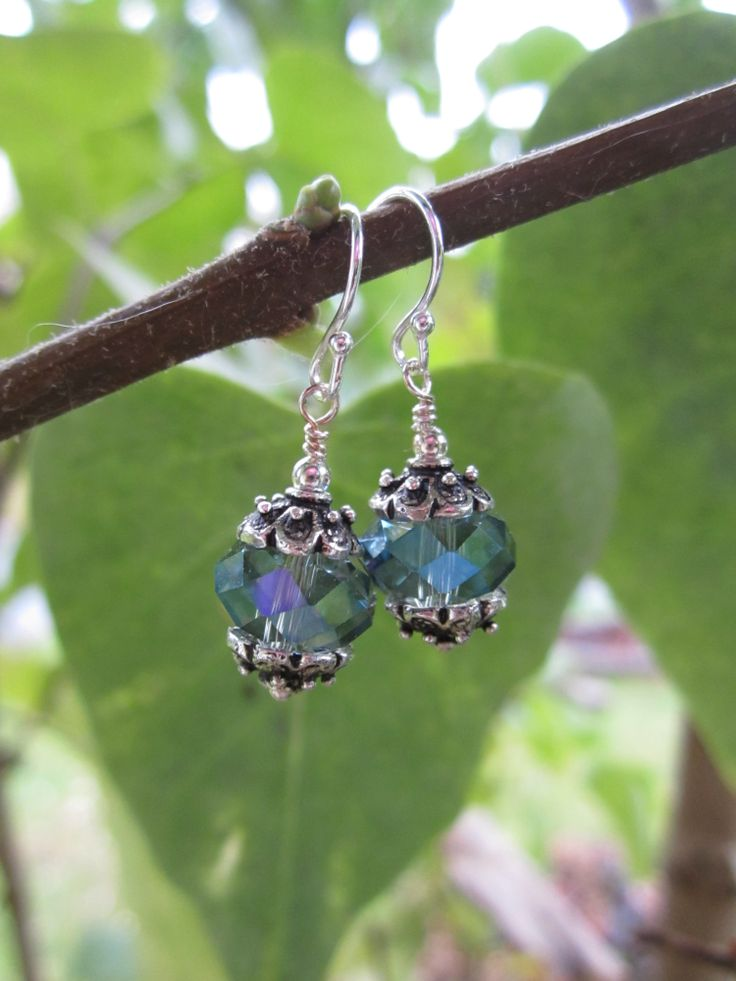 Antique silver &  Czech crystal drops