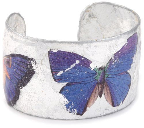 "EVOCATEUR ""The Gardens"" Barcelona Butterflies Silver Leaf Bracelet EVOCATEUR. $288.00. Made in United States. We use a centuries-old hand gilding technique which results in a unique and stunning piece of jewelry. The cuff features three colorful butterflies. Each piece is handmade and may vary slightly from the photo. Designed and handcrafted by master artisans in Connecticut using sterling silver leaf"