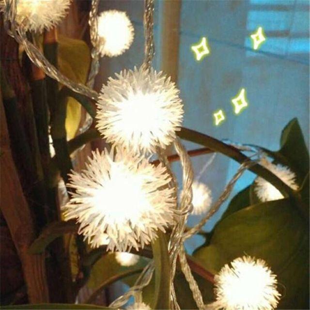 3 М 20 СВЕТОДИОДНЫХ Furry Snow Ball Эдельвейс Светодиодные Рождественские Огни Строку для Сада и Домашнего Декора свадьбы Гирлянды украшения