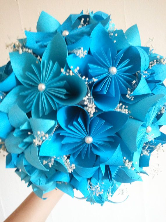 Blue origami flower bouquet Origami wedding by UndertheRedHat