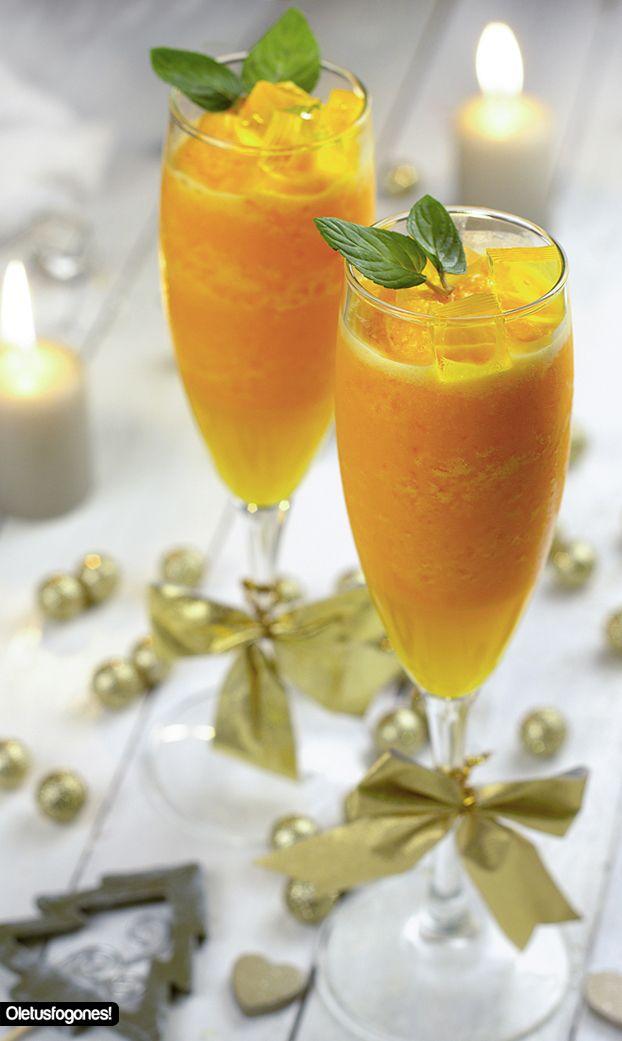 Sorbete de mandarina y gelatina de mango