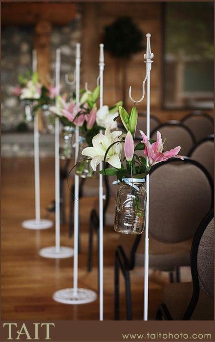 Fresh Flowers - Aisle Pews #calgaryweddings #ceremonydecor