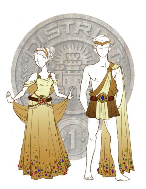 """District 1. """"So in the books the outfits were clearly described as togas, but I didn't wanna do the silver spray painted skin, so I took the idea of toga and glitz, and I ran with it. I was reading my Greek mythology, and I decided to reinterpret the belts of Orion and Hippolyta, and make them super bugie. So here you go, Gold gossamer togas with bedazzles out the wazoo!"""" ~lancet.tumblr.com"""