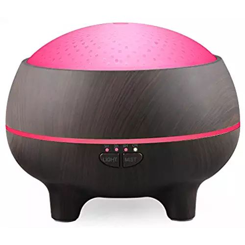 Ultrasonic Dark Wood Aromatherapy Essential Oil Diffuser/Cool Mist Humidifier Air, Auto Shut-off & 7 LED lights, For Office Home Bedroom Living Room Study Yoga Spa–300ml