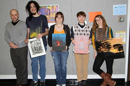 Visual Arts Professor Yegeniy Fiks with students selected for solo shows in the Student Center (Spring 2014), from left, Richard Siggillino, Iwona Skiba, Adam Hillman and Jennifer Vasta.