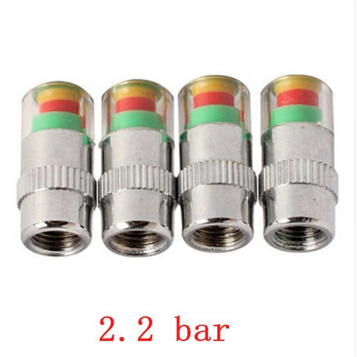 4Pcs/Lot 2.4Bar 36psi 2.2Bar 32psi 2.0Bar 30psi Air Warning Alert Tire Valve Pressure Sensor Monitor Light Cap Indicator For Car