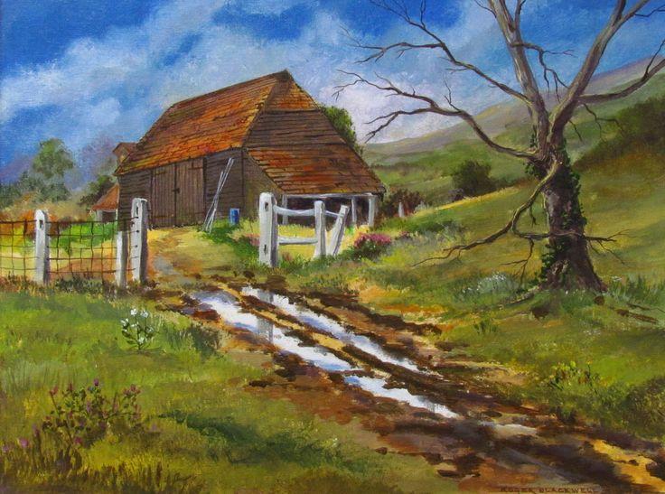 """The  Barn""  Acrylic on canvas board. Size 16"" x 12"""