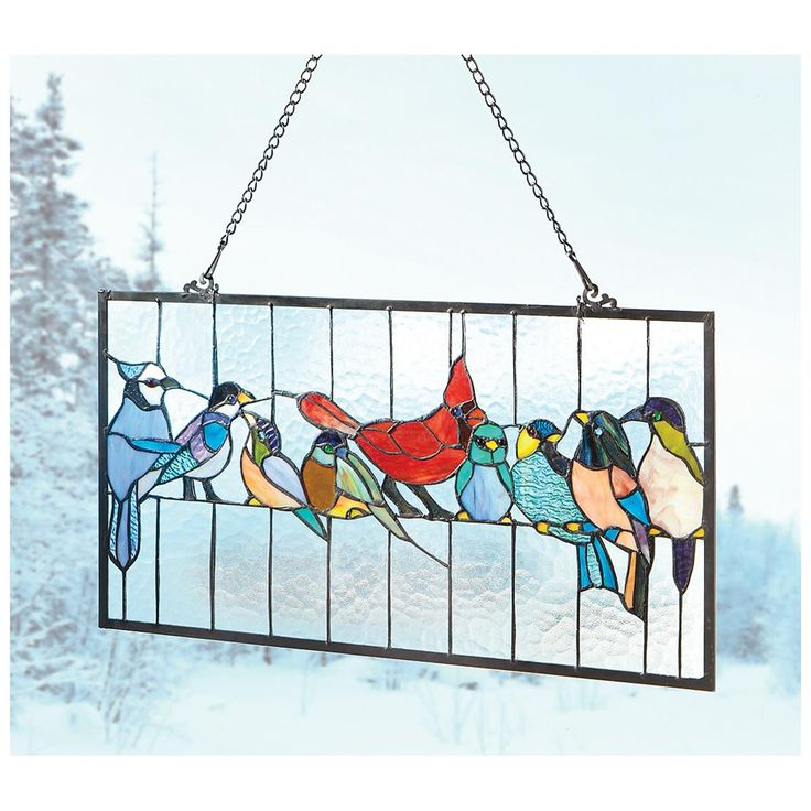 CASTLECREEK™ North American Birds Window Panel fills any room with jewel - toned light.