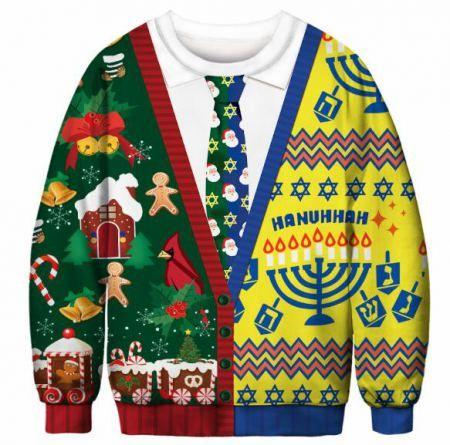 64b0e5c050fb 3D fake Christmas sweatshirt with tie print gingerbread Man pullover ...