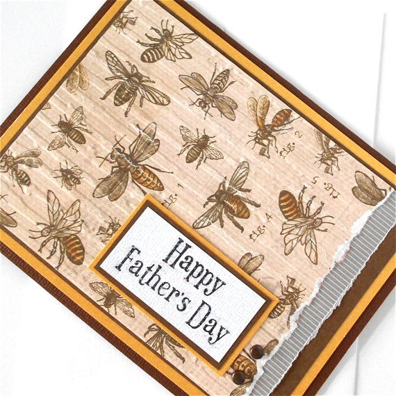 Handmade Blank Father Day Greeting Note Cards - The Collector  Happy Fathers Day has been hand stamped onto textured white and then layered onto dark brown and metallic gold papers. This is then applied to sophisticated bugs that are printed on distressed paper that has been hand embossed with more distressed lines and hand torn on the right-hand edge. A sliver of striped embossed vellum is also hand torn and slipped in between the layers of more dark brown and metallic gold paper with two…