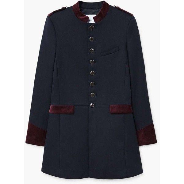 MANGO Military style coat ($170) ❤ liked on Polyvore featuring outerwear, coats, military style coat, military inspired coat, funnel-neck coat, cotton coat and military coats