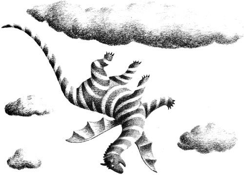 Children's illustration of dragon falling from clouds for story My Fathers Dragon
