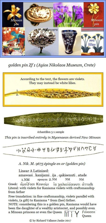 golden floral pin Linear A Zf 1 inscription Ayios Nikolaos Museum Crete in derived Mycenaean