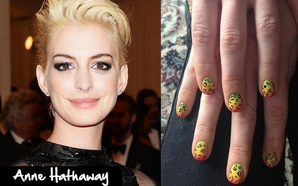 Anne Hathaway's Met Gala rainbow leopard print nail designs.  Anne Hathaway blonde, Anne Hathaway nails, cheetah nails, Nail It Magazine.
