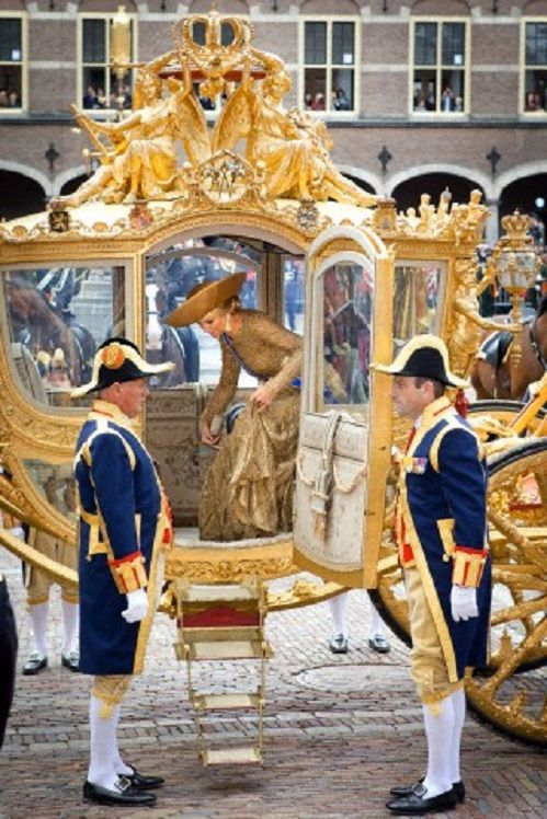 Dutch Queen Maxima arrive in the Golden Chariot during celebrations for Prinjesdag (Prince's Day) on 17 Sep 2013 in The Hague, Netherlands.
