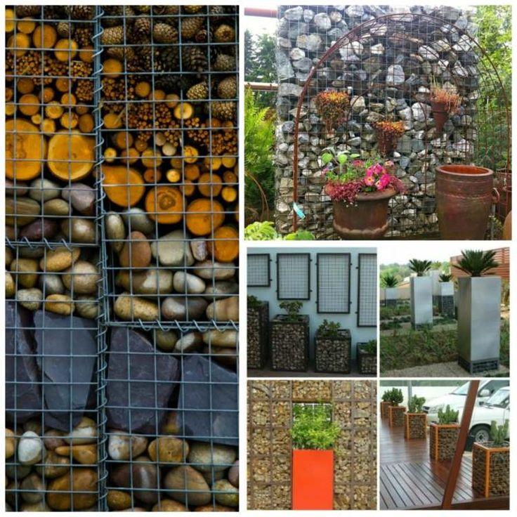 idée sur le remplissage de gabion - galets, rondelles de bois et pommes de pin