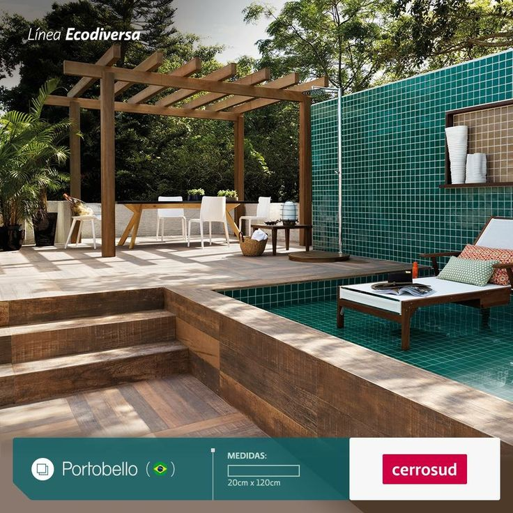 ☀️🏊🏻♂️ La Colección Ecodiversa de PORTOBELLO propone para el área de piscina crear espacios naturales • Elegí el porcellanato Ibirapuera Mix #portobellolovers #cerrosud #porcelanato