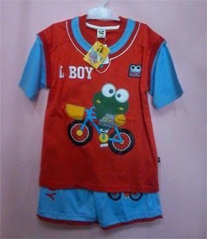 Pakaian Anak: Baju stelan anak little boy merah biru