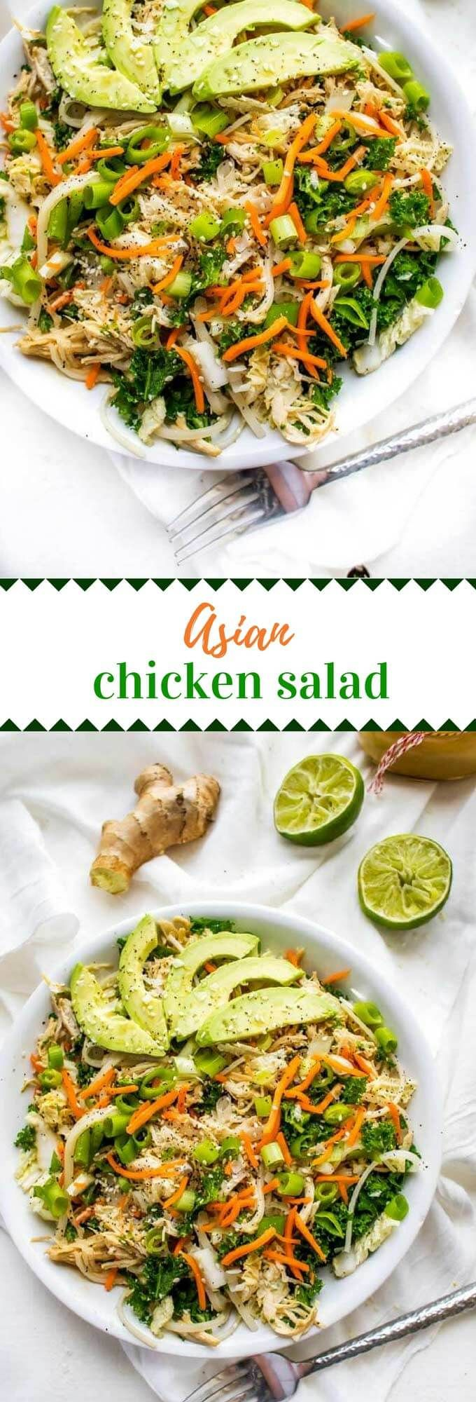 This Asian Chicken Salad recipe is an easy healthy meal!  With noodles and a delicious Asian, this is a salad you will crave. #saladrecipe #glutenfree