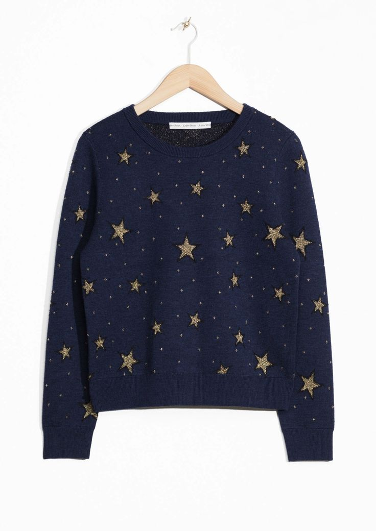 & Other Stories | Night Sky Jacquard Sweater | Blue
