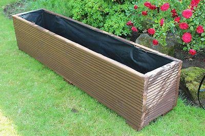 LARGE WOODEN GARDEN PLANTER TROUGH 150cm LENGTH DECKING PAINTED RONSEAL DARK OAK in Wooden | eBay