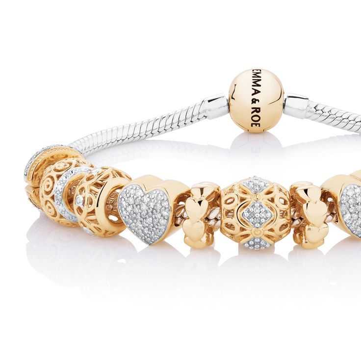 1/2 carat of diamonds, sterling silver bracelet with 10ct gold charms. #emmaandroe #christmas. Available late November.