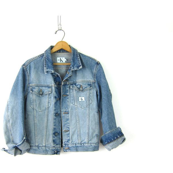 Faded Calvin Klein jean jacket Worn In Denim Coat 90s button down... ($36) ❤ liked on Polyvore featuring outerwear, jackets, vintage clothes, blue jackets, bleach jacket, blue cropped jacket, jean jacket and blue denim jacket