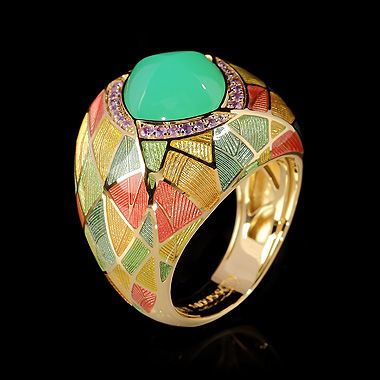 Mousson Atelier ring  Four Seasons Yellow gold 750, Chrysoprase 3.26 ct., Sapphires, enamel