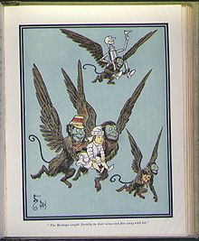 Winged monkeys - Wikipedia, the free encyclopedia   In the Wonderful Wizard of OZ novel, the winged monkeys were controlled as slaves by the Wicked Witch by a golden crown.  Read it on wikipedia by tapping VISIT on this page.