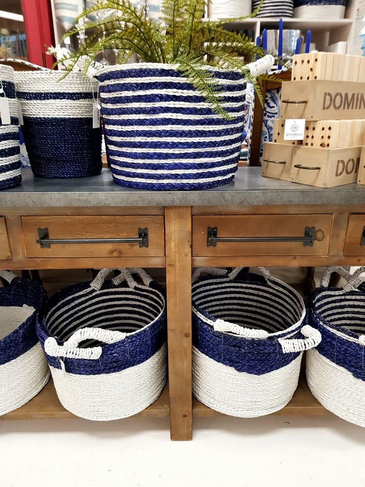 Nautical inspired baskets for planting or home storage.. take your pic! #baskets #decorideas #nautical