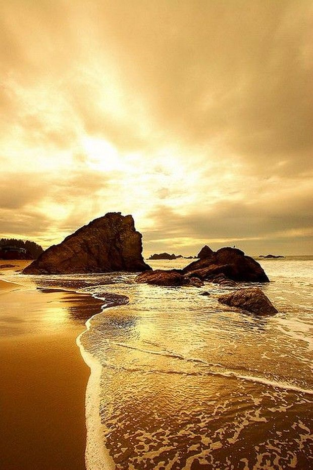 The most beautiful landscapes in the United States (50 pictures): Land Water – golden seascape Harris Beach Brookings Oregon