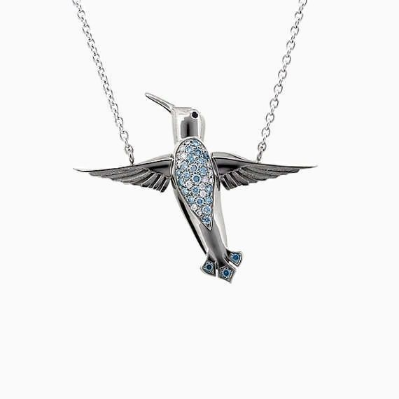 Hummingbird Necklace with Blue Diamonds in White Gold