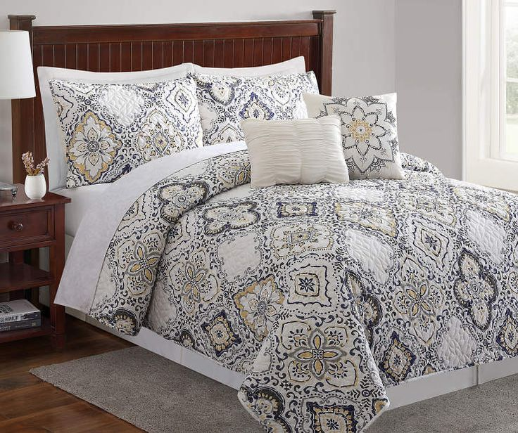 Arya Gray, Yellow & Blue 5Piece Queen Quilt Set (With