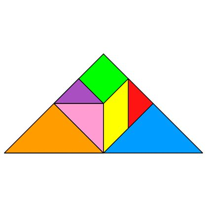 Tangram Triangle - Tangram solution #4 - Providing teachers and pupils with tangram puzzle activities