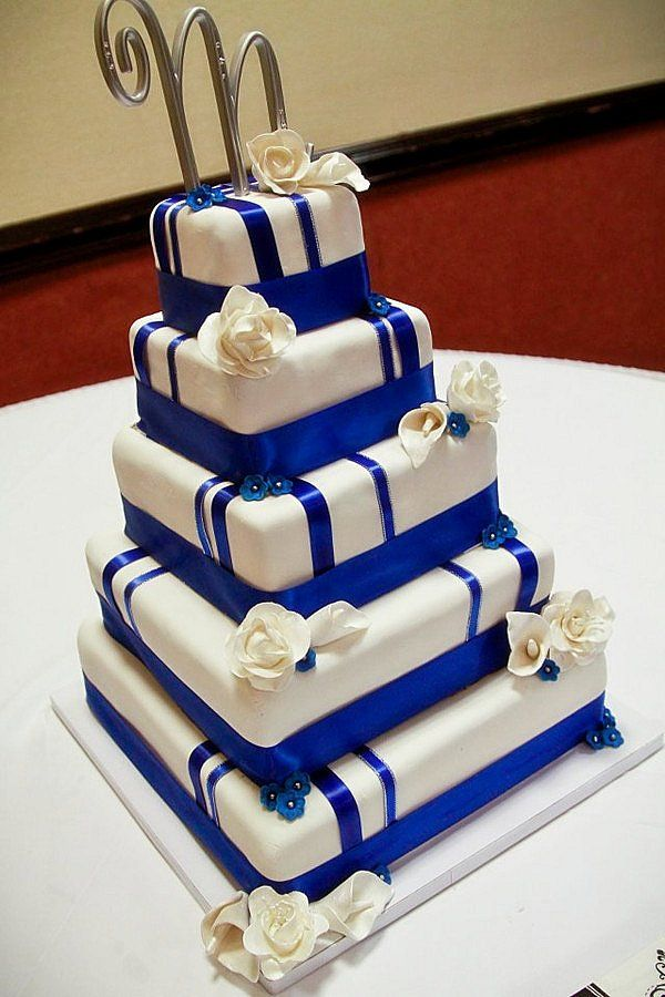 Five Square Tier of Royal Blue Wedding Cakes Ideas Design