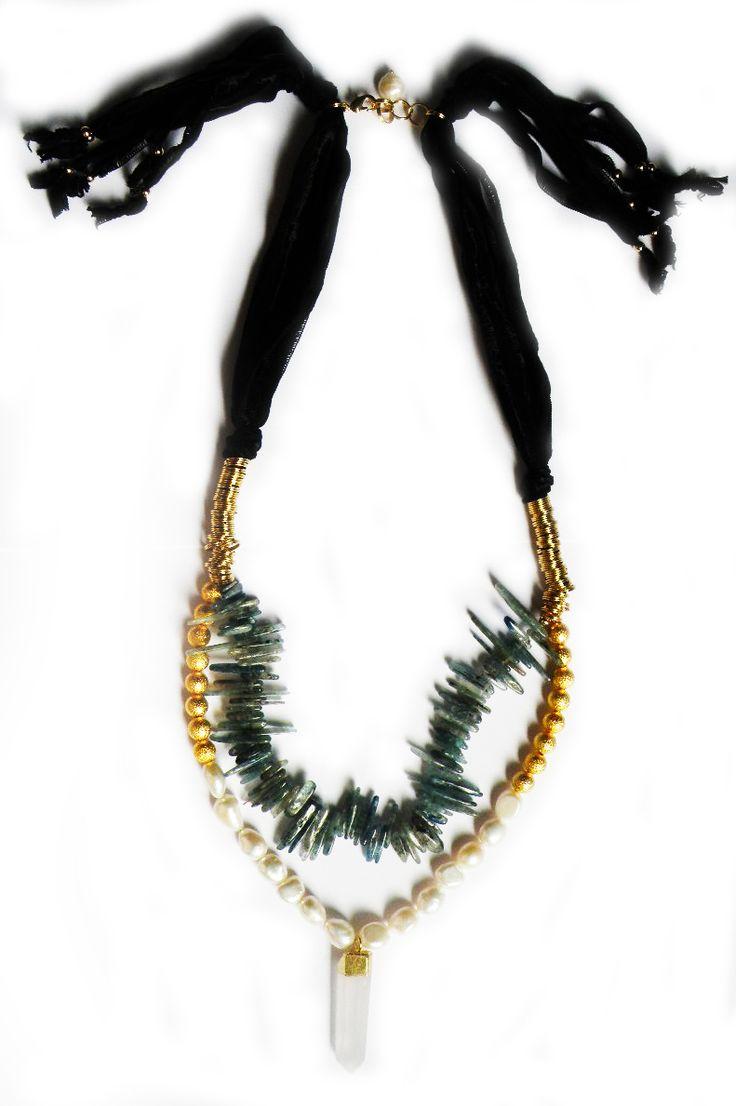 collar seda, perlas y cuarzo