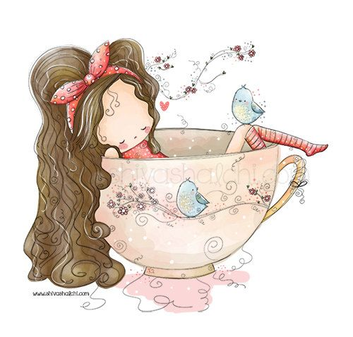 Cute Illustration - Tea Time Girl - A3 - A4 - A5